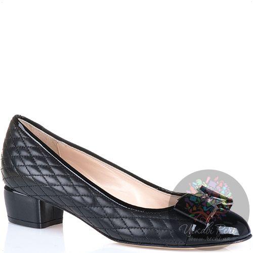 Туфли Essere кожаные стеганые черные с лаковым носком и каблуком, фото