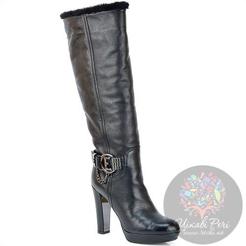 Сапоги Essere на каблуке-столбике и платформе зимние черные кожаные, фото