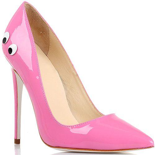 Туфли-лодочки Kandee лаковые розового цвета с декоративными глазками, фото