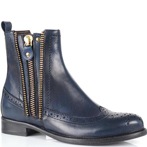 Ботинки-броги ручной работы Fabbrica Morichetti темно-синего цвета, фото
