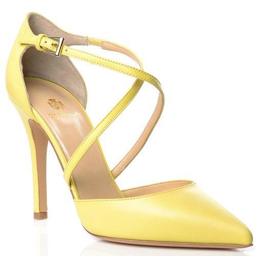 Кожаные туфли Semilla на шпильке желтые с тонкими изящными ремешками, фото