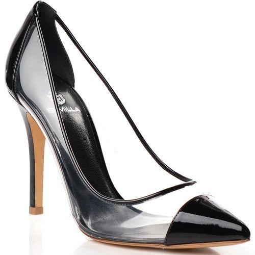 Туфли-лодочки Semilla на шпильке прозрачные с черным кожаным носком и пяточной частью, фото
