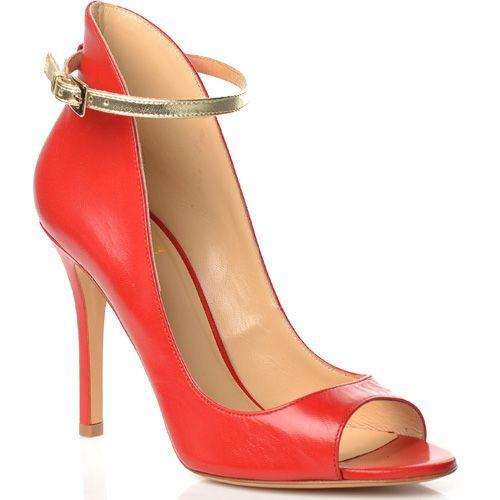 Красные кожаные туфли Semilla на шпильке с открытым носком и высокие сзади, фото