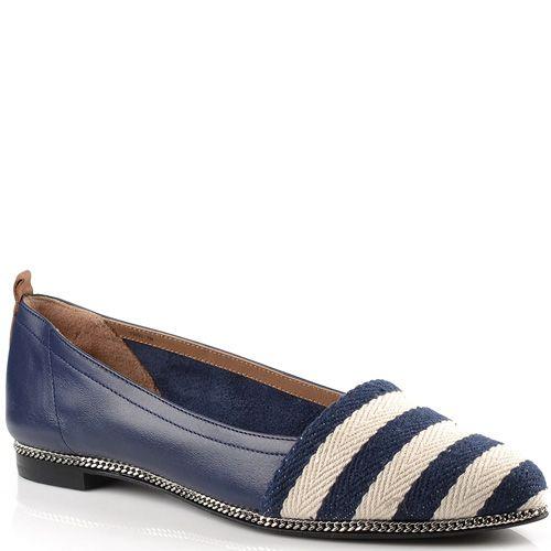 Туфли-эспадрильи Rachel Zoe кожаные синие с текстильным носком, фото
