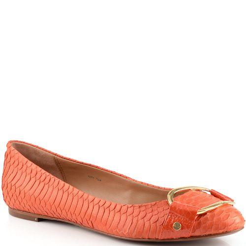 Балетки Rachel Zoe кожаные под змею морковно-оранжевые с пряжкой, фото
