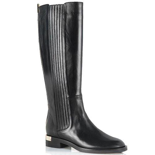 Кожаные сапоги Giorgio Fabiani черного цвета с вертикальной стежкой, фото
