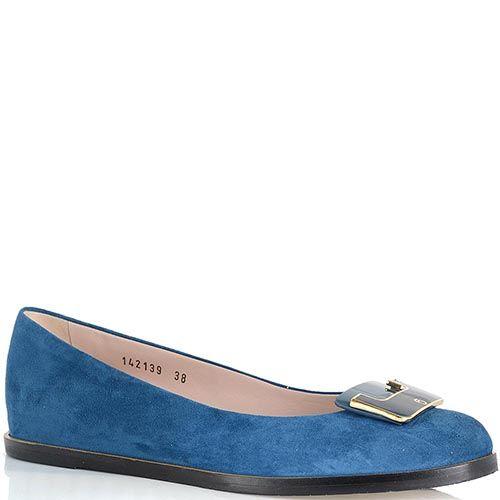 Замшевые балетки Giorgio Fabiani сине-голубого цвета с брендированной пряжкой, фото
