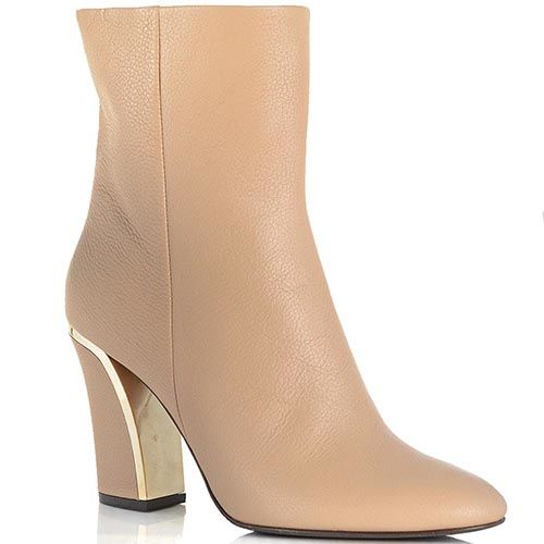 Женские ботинки Giorgio Fabiani на золотистом каблуке бежевые, фото