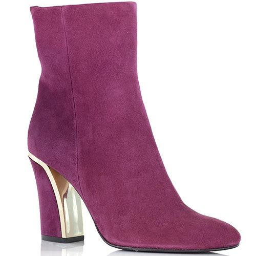 Замшевые ботинки Giorgio Fabiani розового цвета на золотистом каблуке, фото
