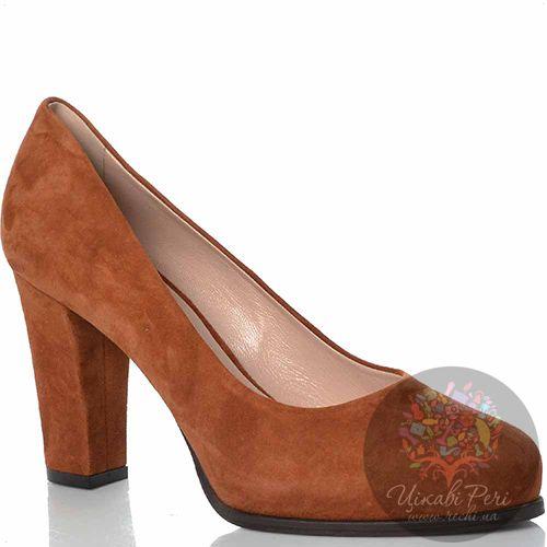 Туфли Giorgio Fabiani замшевые коричнево-рыжие на удобном каблуке, фото