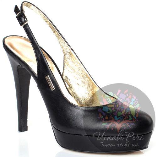 Босоножки GF Ferre с закрытым носком на шпильке кожаные черные, фото