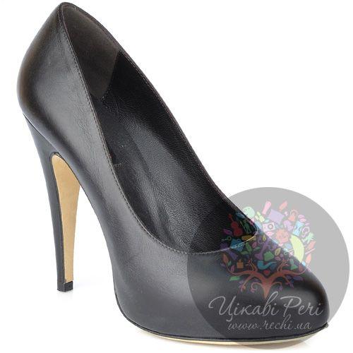 Туфли Fratelli Cattolico на шпильке черно-коричневые кожаные, фото