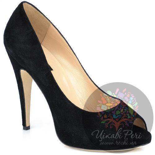Туфли Fratelli Cattolico на шпильке черные замшевые с открытым носком, фото
