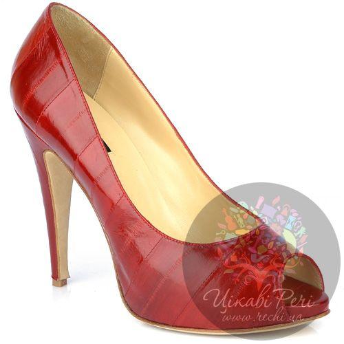 Туфли Fratelli Cattolico на шпильке кожаные красные с открытым носком, фото