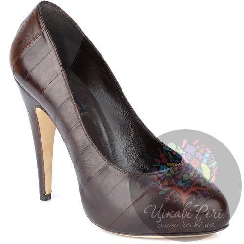 Туфли Fratelli Cattolico на шпильке коричневые из кожаных полос, фото