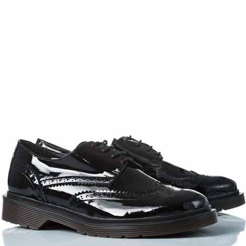 Туфли-броги Anna F. кожаные лаковые черные, фото