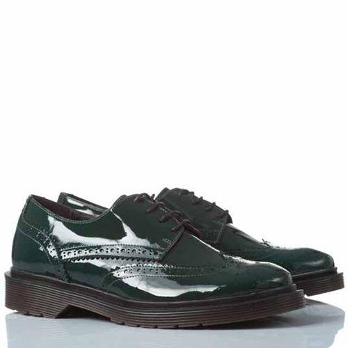 Туфли-броги Anna F. кожаные лаковые темно-зеленые, фото
