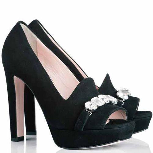 Туфли Anna F. замшевые черные с открытым носком и вырезом как у лоферов, фото