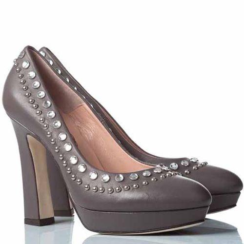 Туфли Anna F. кожаные бежево-серые на приталенном каблуке, фото