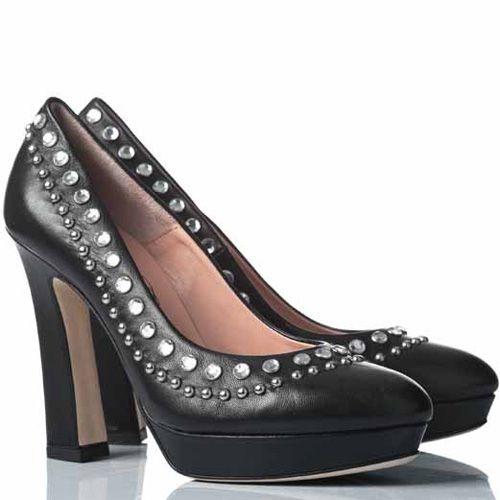 Туфли Anna F. кожаные черные на приталенном каблуке, фото