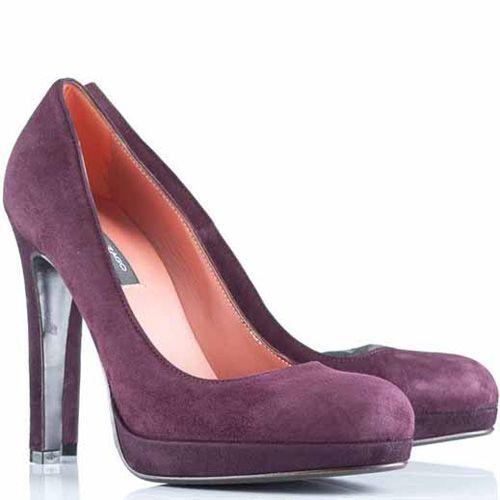 Туфли Alberto Zago на высокой шпильке замшевые бордово-сиреневые, фото