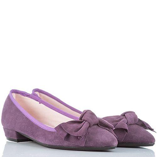 Туфли SKA на низком широком каблучке нежные фиолетовые с бантом, фото