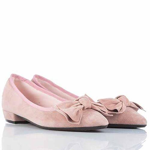 Туфли SKA на низком широком каблучке нежные розовые с бантом, фото
