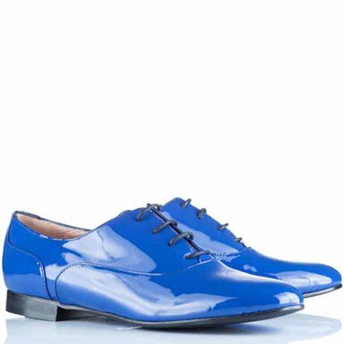 Оксфорды Alberto Zago кожаные лаковые насыщенно-голубые, фото