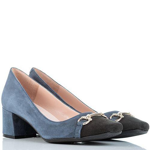 Туфли SKA замшевые серо-синие с черным носком с стиле 70х, фото