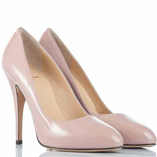 Туфли-лодочки Semilla на шпильке кожаные лаковые пудрового цвета, фото