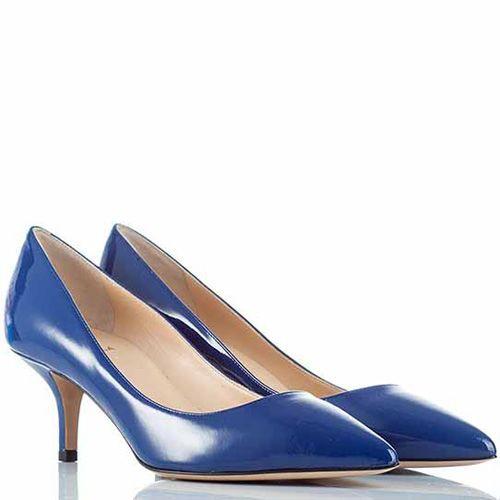 Лодочки Semilla на низкой шпильке кожаные лаковые синие, фото