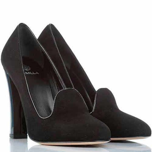 Лоферы Semilla на высоком каблуке-столбике замшевые черные элегантные, фото