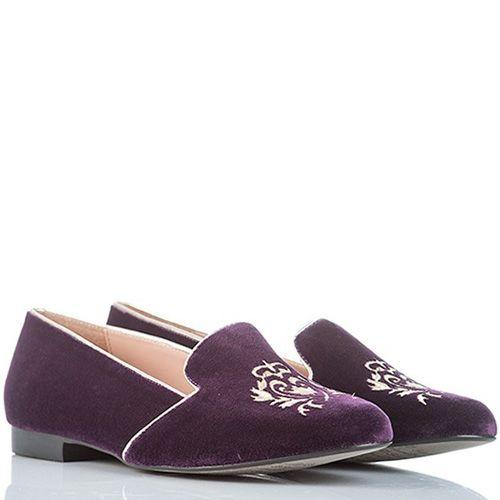 Слиперы SKA замшевые темно-пурпурные с вышивкой и кантами молочного цвета, фото