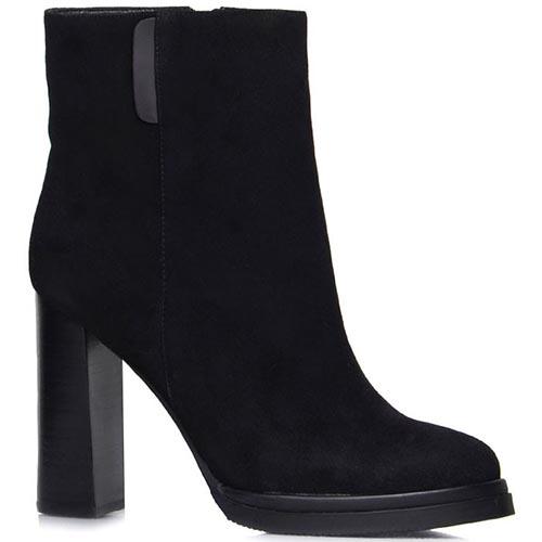 Ботинки Prego из натуральной замши черного цвета на толстом каблуке, фото