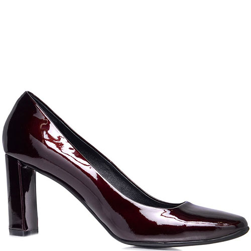 Туфли Prego из лакированной кожи бордового цвета на устойчивом каблуке, фото