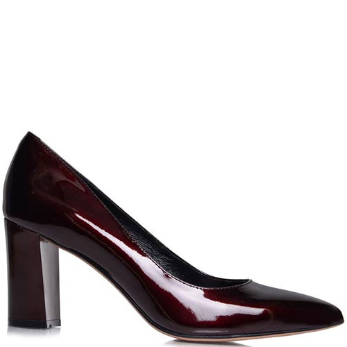 Туфли-лодочки Prego бордового цвета на толстом каблуке, фото