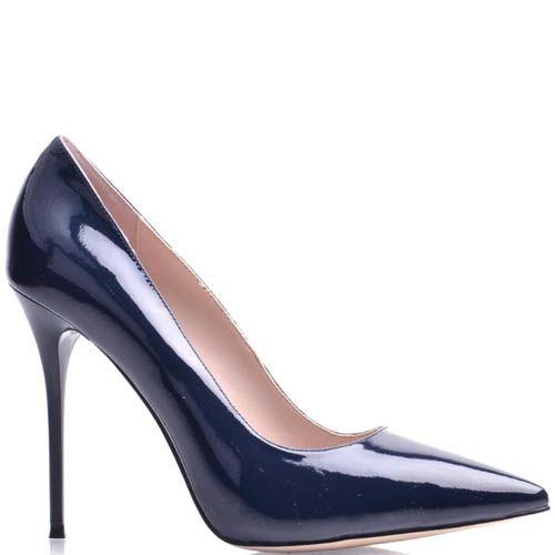 Туфли-лодочки Prego на шпильке глубокого синего цвета лаковые, фото
