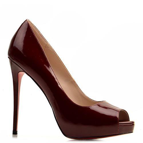 Кожаные туфли Prego бордового цвета на высокой шпильке, фото