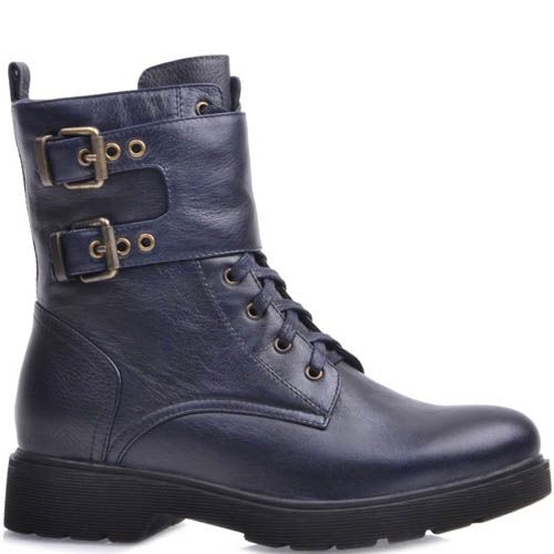 Ботинки Prego синего цвета с двумя пряжками, фото