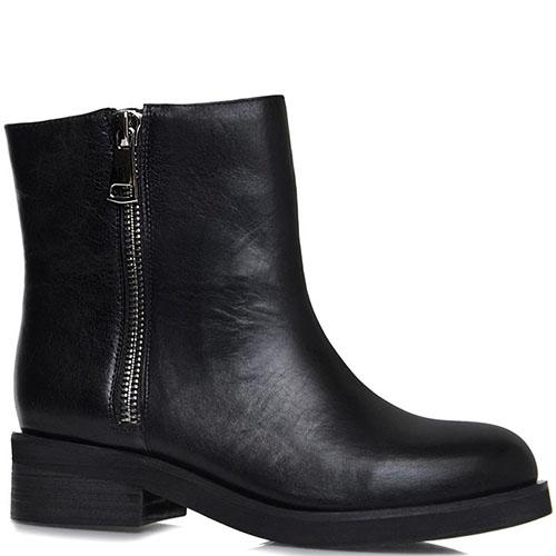 Высокие ботинки Prego из натуральной кожи черного цвета с металлической молнией, фото