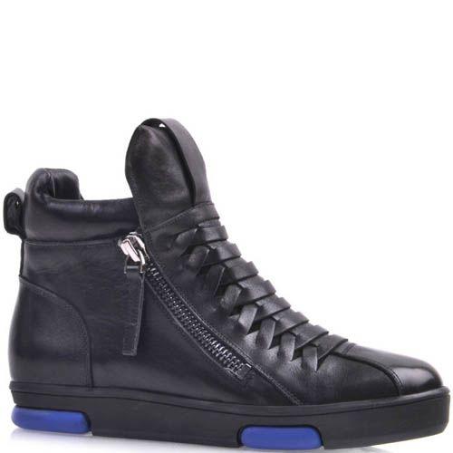 Сникеры Prego кожаные черного цвета с синими вставками на подошве, фото