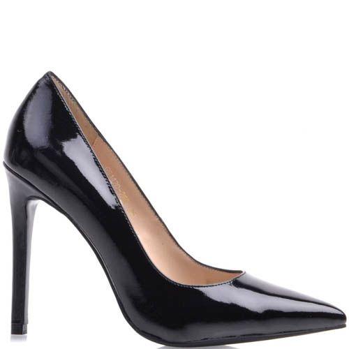 Туфли-лодочки Prego лаковые черного цвета с узким носком, фото