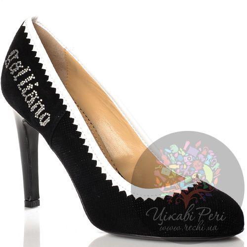 Туфли Galliano на лаковой шпильке черные замшевые с белой отделкой, фото