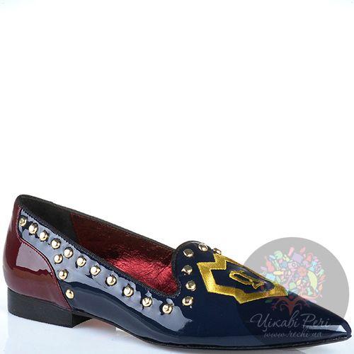 Слиперы Galliano с узким носком лаковые из темно-синей и бордовой кожи, фото
