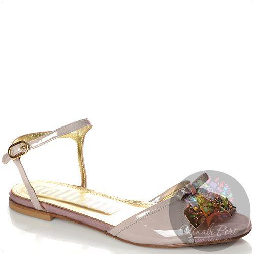 Сандалии Galliano кожаные лаковые серо-бежевые с розовинкой, фото