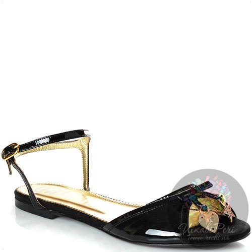 Сандалии Galliano кожаные лаковые черные, фото