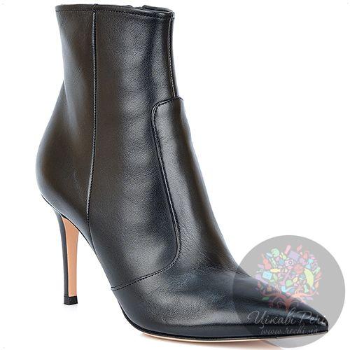 Ботинки Gianvito Rossi с острым носком осенние кожаные черные на шпильке, фото