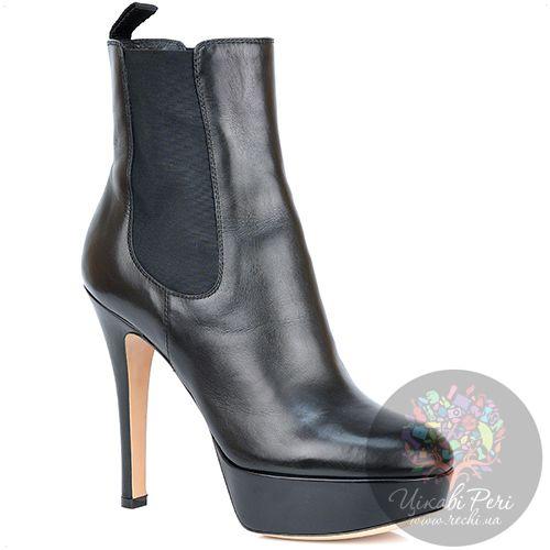 Ботинки Gianvito Rossi на шпильке и платформе черные кожаные осенние, фото