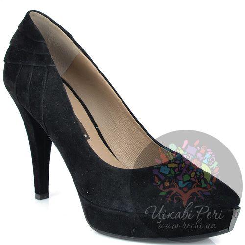 Туфли Giorgio Fabiani черные замшевые на невысокой шпильке, фото