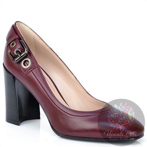 Туфли Giorgio Fabiani из бордовой кожи на модном приталенном каблуке, фото